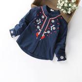 萬聖節狂歡   女童襯衫長袖2018春秋裝新款韓版中大童兒童女寶寶洋氣刺繡白襯衣  mandyc衣間
