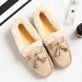 秋冬季韓版平底加絨豆豆鞋 帶毛毛的棉鞋【多多鞋包店】z4753