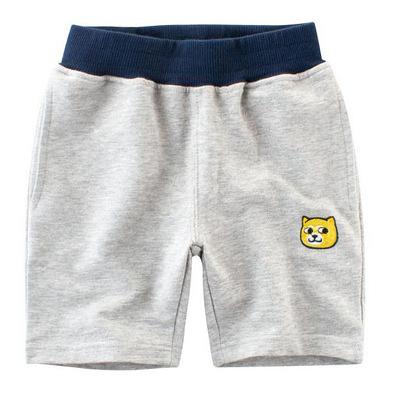 男Baby男童純棉短褲淺灰色可愛狐狸運動短褲休閒短褲現貨  歐美品質