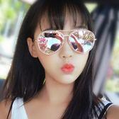 新款街拍度假眼鏡框大臉開車墨鏡女潮韓版百搭網紅粉色反光太陽鏡 英雄聯盟