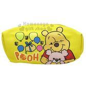 〔小禮堂〕迪士尼小熊維尼厚帆布拉鍊化妝包《黃抱熊》萬用包收納包筆袋8039320 40215
