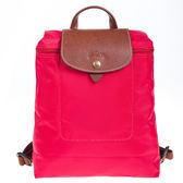 【雪曼國際精品】LONGCHAMP Le pliage 尼龍折疊後背包(桃紫紅色)