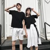 情侶裝不規則連身裙韓版男短袖女修身拼接裙套裝【聚寶屋】