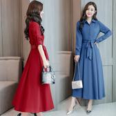 超殺29折 韓國風復古純色修身收腰顯瘦紐扣長袖洋裝