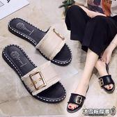 平底拖鞋 新款韓版百搭平底方扣一字拖時尚外穿平跟涼拖孕婦拖鞋女