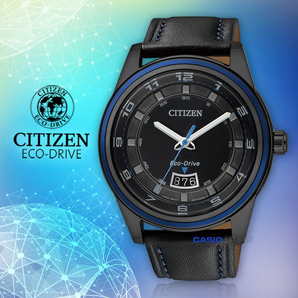 CITIZEN 星辰 手錶專賣店 CITIZEN AW1275-01E 男錶 指針錶 皮革錶帶 黑 光動能 防水 日期