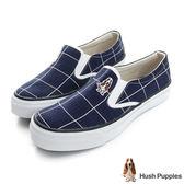 Hush Puppies 大方格咖啡紗中性懶人鞋-深藍色