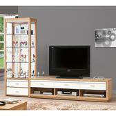 【森可家居】米堤原木色8尺L櫃(全組) 8ZX571-2 高低櫃 客廳 展示櫃 電視櫃 木紋質感 無印風