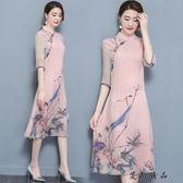 夏新款真絲中長款時尚改良旗袍