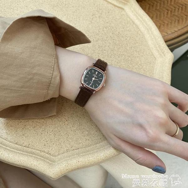 手錶 hands'mood 韓國簡約時尚ins風小方錶學生氣質百搭小眾皮帶手錶女 曼慕