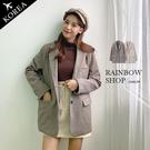 正韓-氣質歐逆格紋毛料鋪棉西裝外套-LL-Rainbow【A2112059】