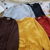 洋芋妹-8755內刷毛原色排扣長袖外套 5色【SB11431】