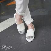 真皮休閒鞋-R&BB MIT台灣手工牛皮製*金屬拚接時尚運動~鬆緊式厚平底懶人便鞋-黑/白色