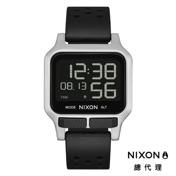 NIXON HEAT 極限運動 超輕薄電子錶 黑銀 多功能 超強電池壽命 雙時區 夜光 計時 (贈手錶扣環)