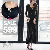 SISI【D6195】休閒修身圓領單排紐扣修身顯瘦大襬長裙連身裙洋裝