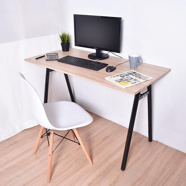 木質 書桌 電腦桌 辦公桌 工作桌 凱堡 A字工作桌電腦桌 原木 (附電線孔蓋)【B13045S】