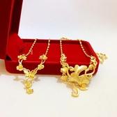 新款24K鍍金越南沙金女士項鏈 仿黃金色花朵吊墜項鏈結婚婚慶飾品
