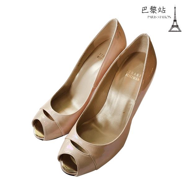 【巴黎站二手名牌專賣店】*全新現貨*Stuart Weitzman 真品*漆皮裸膚色魚口鞋/高跟鞋(37.號)