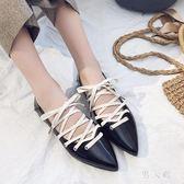 低跟尖頭鞋秋季新款韓版尖頭綁帶平底鞋女芭蕾舞鞋單鞋女鞋 zm7857『男人範』