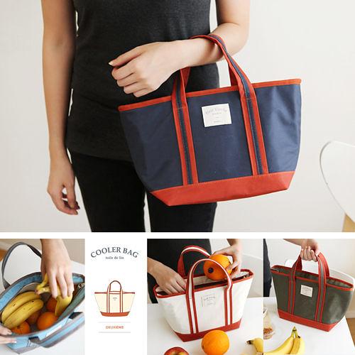 【韓國創意品牌 invite.L】保冷袋 保溫袋 保鮮袋 餐盒袋 便當袋 手提包 防潑水 繽紛六色可選擇