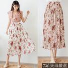 ◆輕盈雪紡材質 ◆彈性鬆緊腰設計 ◆百摺壓紋造型 ◆半長內裡設計
