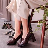 現貨-MIUSTAR 高質感牛皮耐磨防滑粗跟高跟鞋(共2色,36-40)【NE4255T1】