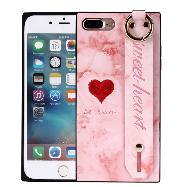 蘋果 iPhoneX iPhone8 Plus iPhone7 Plus iPhone6 s Plus 手帶刺繡彩繪 手機殼 保護殼 全包 防摔 手帶 支架