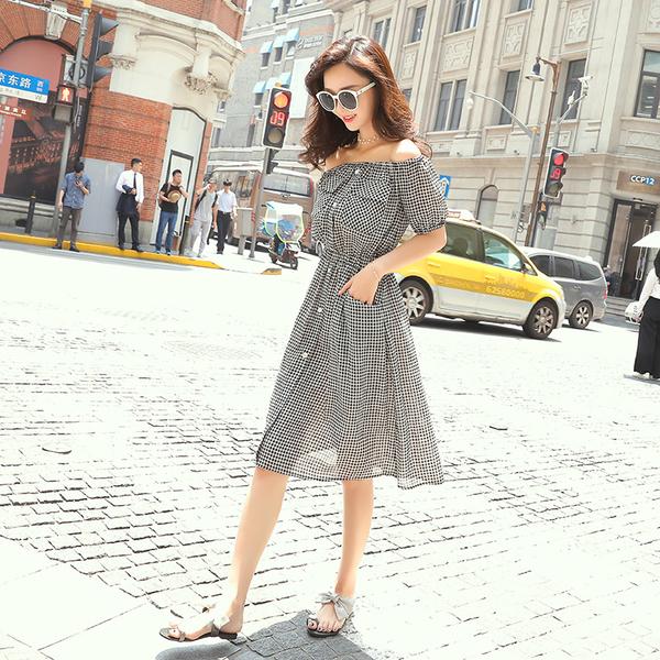 清倉$388 韓國風名媛一字領格子氣質時尚修身短袖洋裝