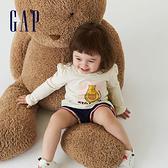 Gap女幼童 布萊納系列 純棉印花褶皺長袖T恤 731839-貓咪圖案