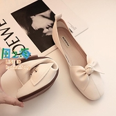 樂福鞋 平底方頭單鞋女奶奶鞋季淺口豆豆鞋蝴蝶結一腳蹬瓢鞋【風之海】