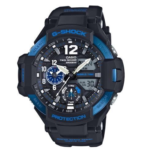 CASIO/G-SHOCK/流行主義飛行錶款/黑*藍/GA-1100-2BDR