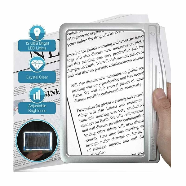 MagniPros 3X大尺寸LED放大鏡 300%放大 720流明 LED Page Magnifier with 12 Anti-Glare Dimmable LEDs [2美國直購]
