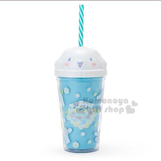 〔小禮堂〕大耳狗 造型塑膠吸管杯《藍.大臉.格紋愛心》300ml.飲料杯.水杯 4901610-14757