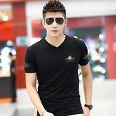男士短袖t恤2021新款夏裝男裝韓版修身純棉汗衫印花V領大碼半袖潮【快速出貨】