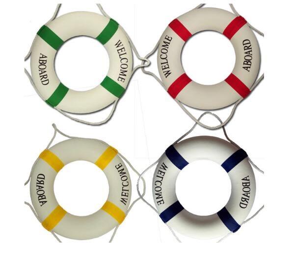 救生圈加密實心泡沫裝飾救生圈地中海風格 外景掛件遊船游泳池救生備用 萌萌小寵 免運DF