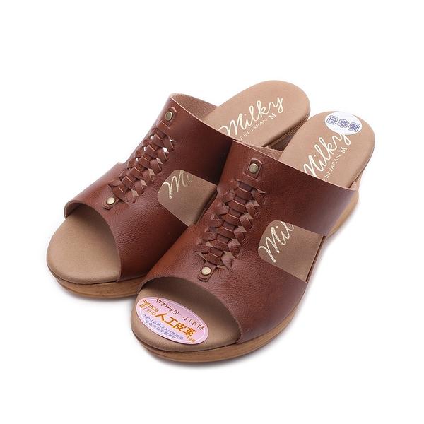 milky milky 編織木跟楔型拖鞋 棕 1312 女鞋
