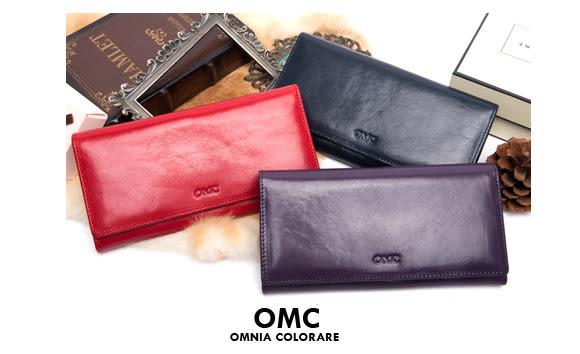 OMC - 原皮魅力系列多層多卡零錢式長夾 - 神秘紫