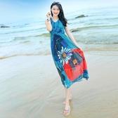 洋裝 海南三亞雪紡洋裝海邊度假顯瘦大碼中年媽媽裝泰國海灘裙沙灘裙 伊衫風尚