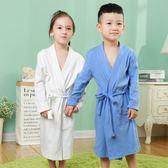 一件85折免運--中大兒童棉質長袖睡袍男女童純色家居袍小孩寶寶系帶浴袍長版春秋