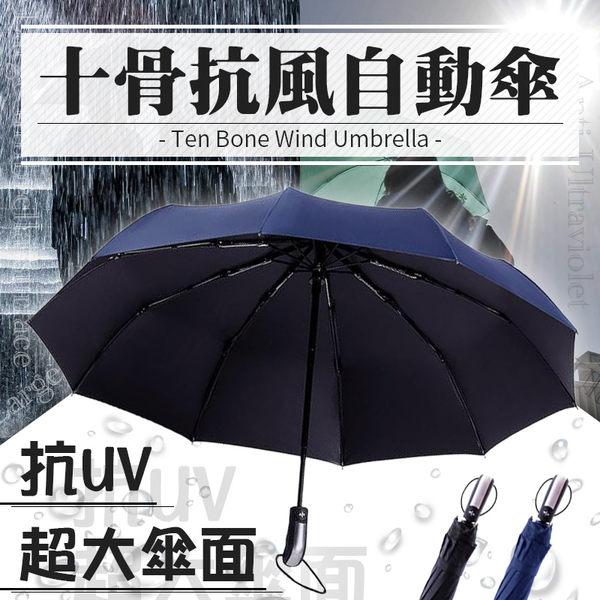 商務十骨自動三折傘【HOR7B1】加大雙人雨傘面黑膠防曬遮陽不透光抗UV不沾快乾堅固抗風#捕夢網