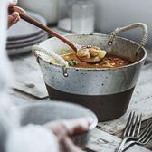 粗陶飯碗泡面碗 全手制麻繩手把湯碗家用菜碗