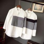 休閒七分袖襯衫男士中袖長袖韓版修身潮流帥氣青少年短袖襯衣夏季