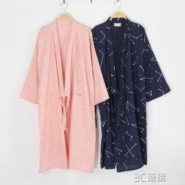 春夏薄款日式情侶和服睡袍純棉紗布男士睡衣浴袍長款睡裙汗蒸服女 3C優購