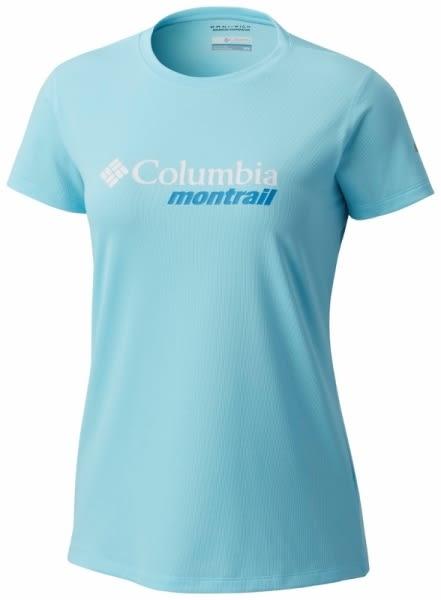 【Columbia】女款防曬30野跑短袖上衣-藍AR2130(BL)