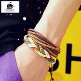 皮手鏈男歐美手串情侶復古時尚撞色手環個性手繩手飾品禮物