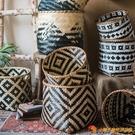 非洲元素竹片色編手工藝術 雜物收納筐籃裝飾花器民族風【小獅子】