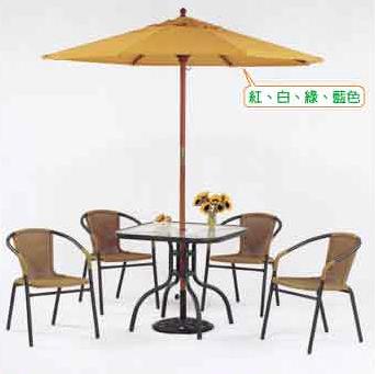 【南洋風休閒傢俱】戶外系列-鋁合金玻璃圓桌椅組 戶外休閒桌椅組 庭園咖啡餐桌椅組(HT336+HC063)