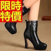 真皮短靴-個性舒適帥氣高跟女靴子2色62d94[巴黎精品]
