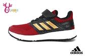 adidas童鞋FORTAFAITO 透氣慢跑鞋 男童跑步鞋 輕量運動鞋 魔鬼氈 Q9372#紅黑◆OSOME奧森鞋業