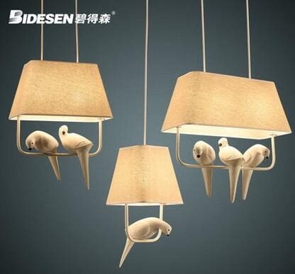 碧得森北欧小鸟吊灯创意客厅餐厅休闲吧布艺卧室书房简约个性吊灯